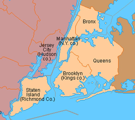 Boroughs (arrondissements) de New York