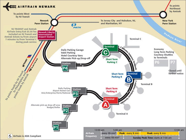 Carte de l'Airtrain à l'aéroport de Newark