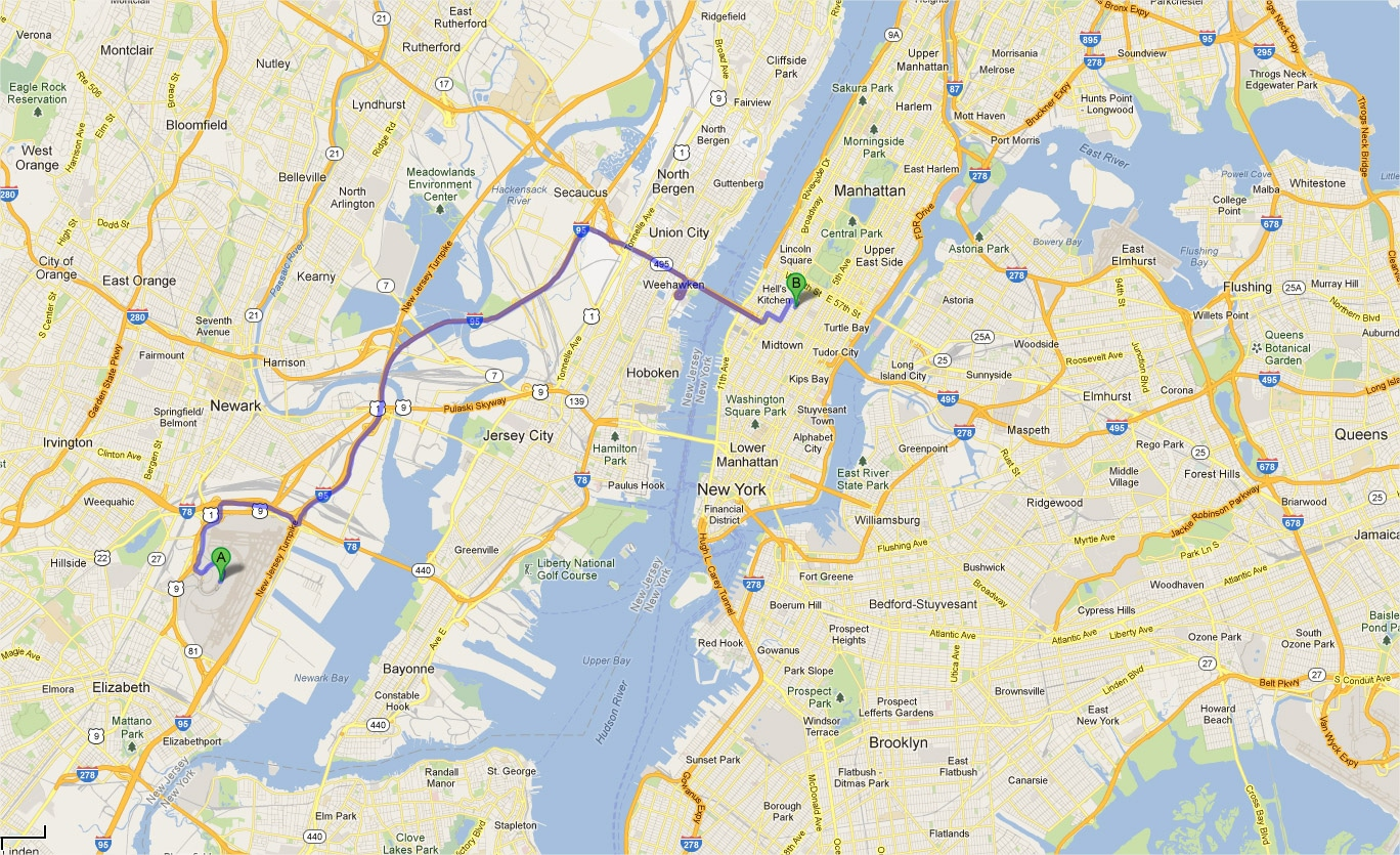 Map Of NYC Airport Transportation Terminal Newark Airport EWR - New york jersey map