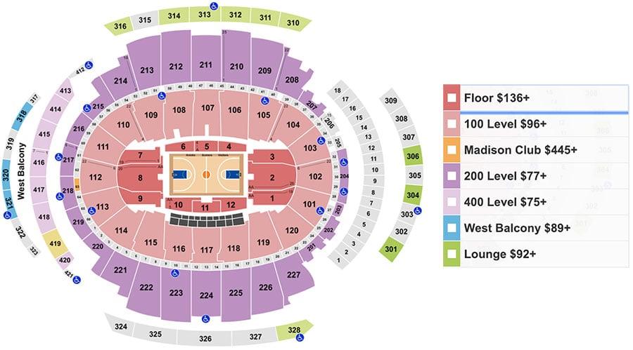 Plan du Madison Square Garden avec prix des places pour voir un match de basket