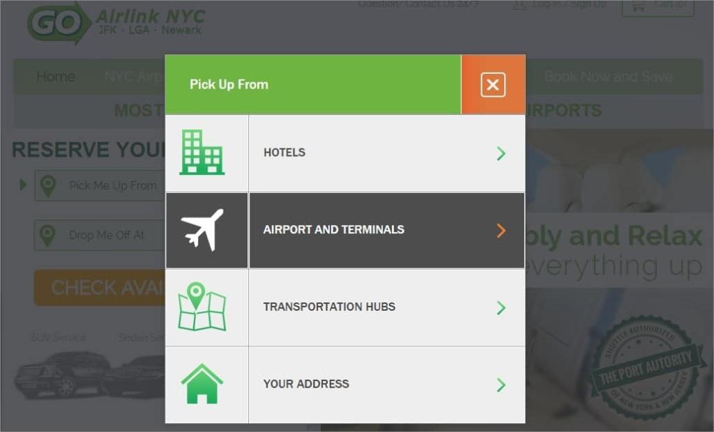 Réserver une navette pour un transfert JFK Manhattan - Choix aéroport