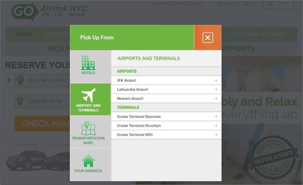Réserver une navette pour un transfert JFK Manhattan - Choix aéroport étape 2