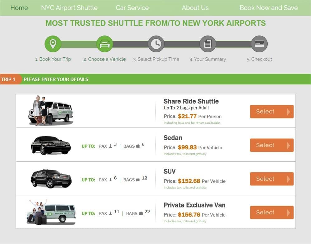 Réserver une navette pour un transfert JFK Manhattan - Choix voiture ou van