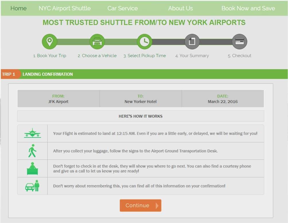 Réserver une navette pour un transfert JFK Manhattan - Confirmation