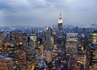 Vue aérienne de Manhattan et de l'Empire State Building