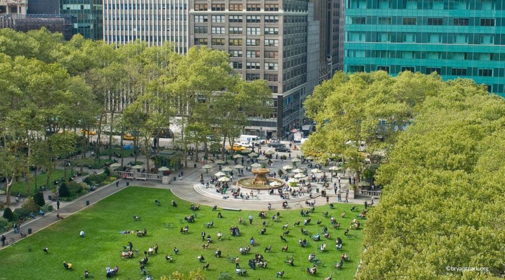 Vue d'en haut du Bryant Park à New York