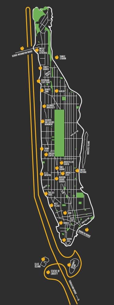 Vol en hélicoptère à New York : trajet du Deluxe Tour