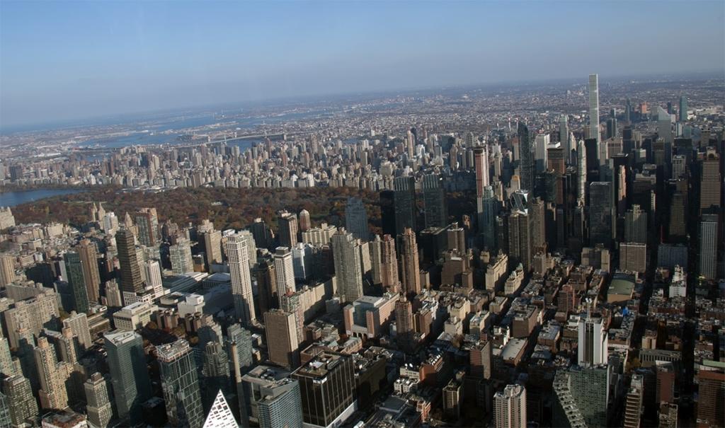 Vue sur Manhattan depuis un hélicoptère
