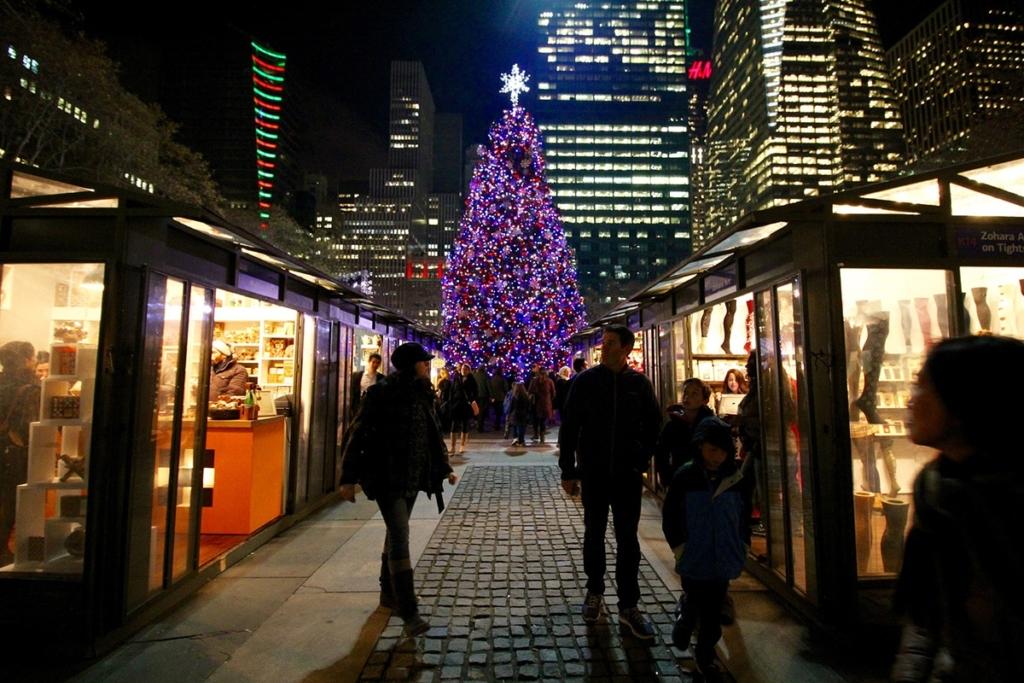 Le marché de Noel à Bryant Park à New york