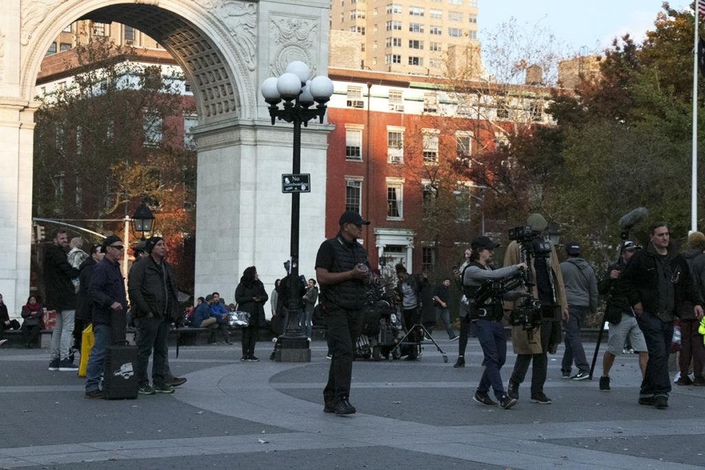 Tournage d'un film sur Washington Square Park