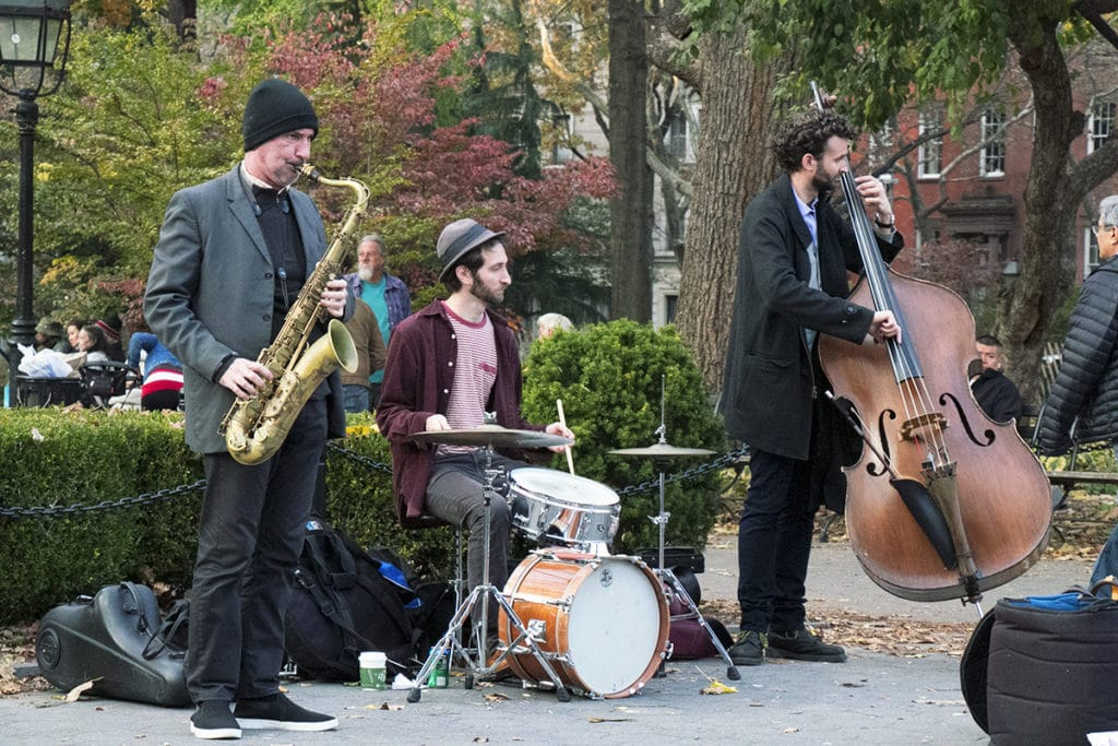 Les musiciens de Washington Square Park