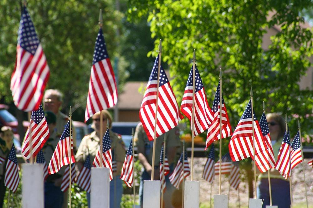 Les drapeaux du Memorial Day à New York