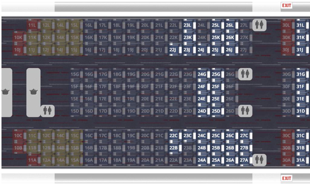 Plan des sièges Airbus A380 Paris - New York