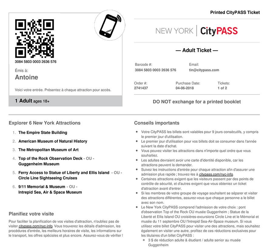 Billet électronique New York City Pass