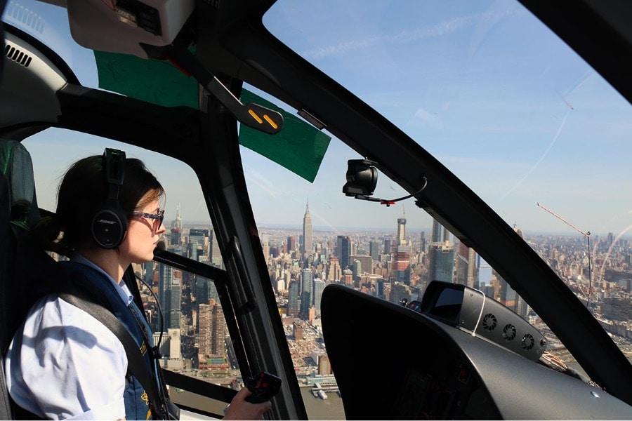 Vue depuis un hélicoptère au-dessus de New York
