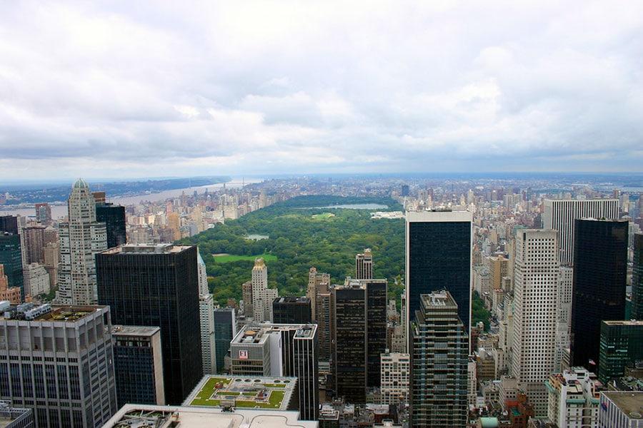 Vue de Central Park depuis le Top of the Rock avant les travaux