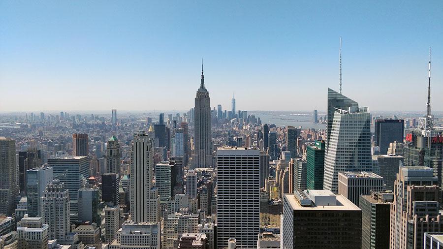 Vue sur l'Empire State Building du Top of the Rock