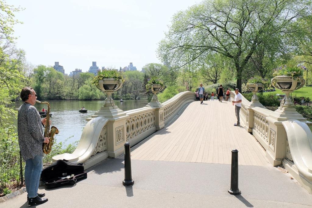 Joueur de saxo sur le pont de Central Park | New York