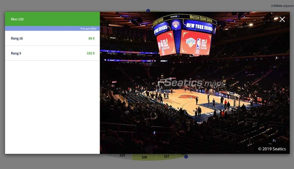 Plan salle basket Madison Square Garden