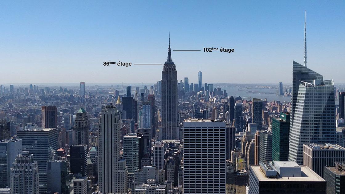 Schéma des 86e et 102e étages de l'Empire State Building