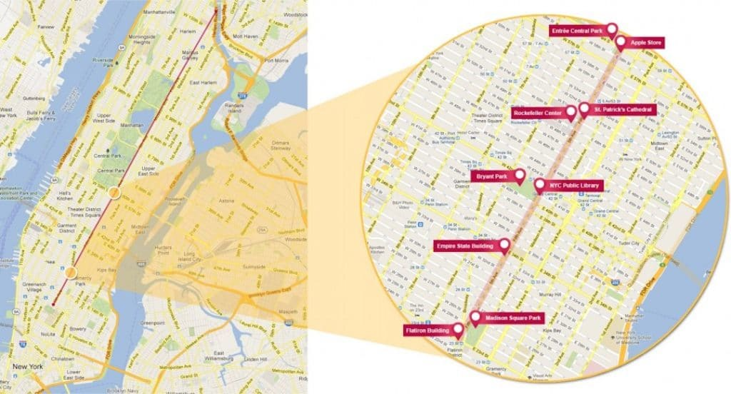 Carte de New York avec la 5ème avenue mise en avant.