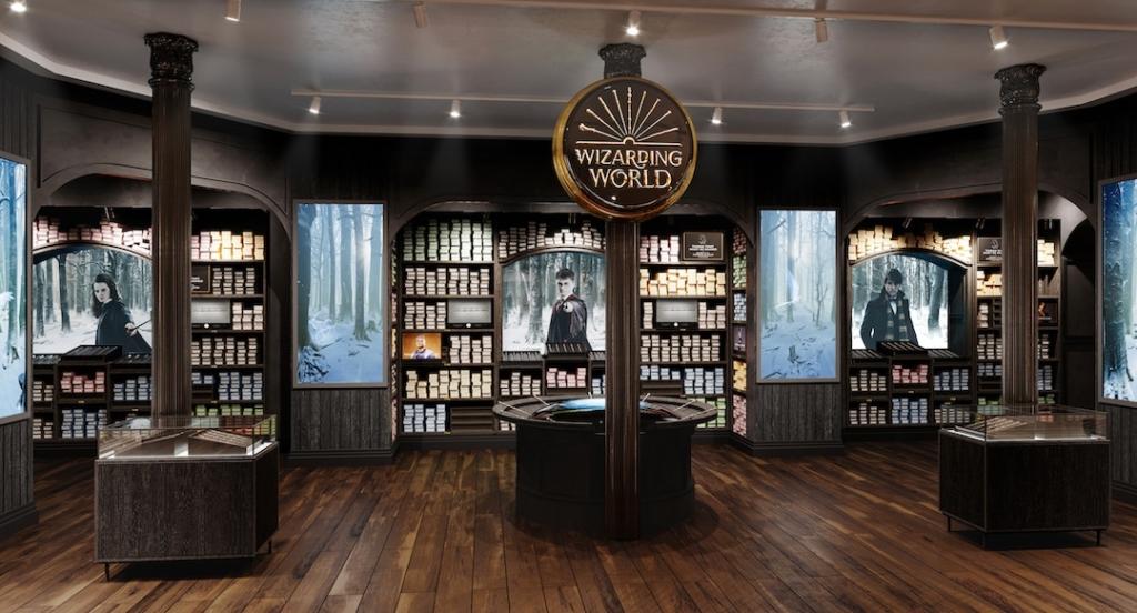 Espace dédié aux baguettes magiques dans le magasin Harry Potter à New York