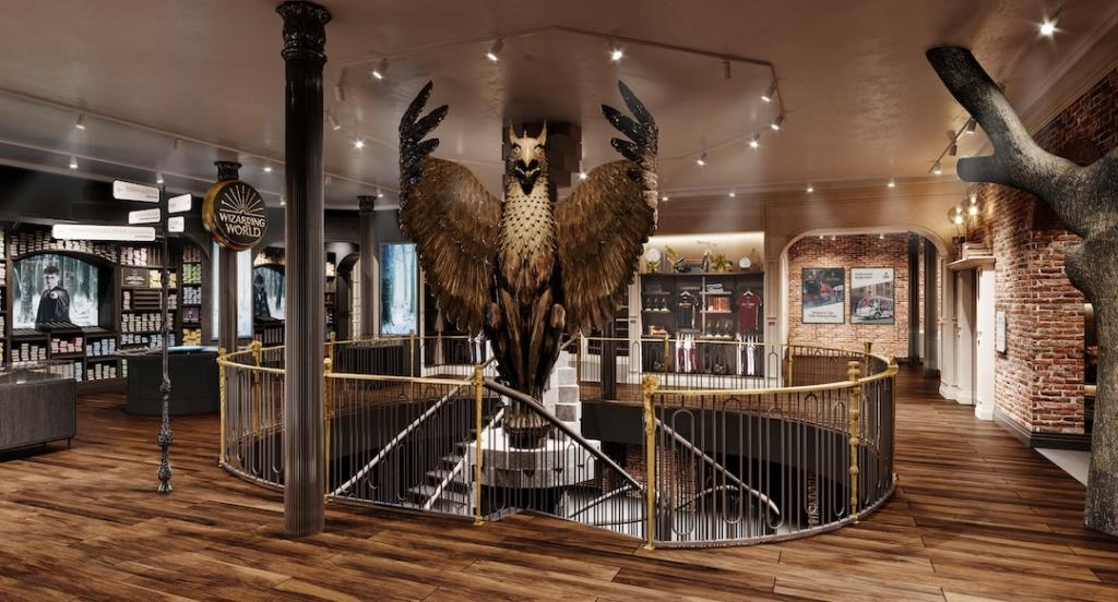Entrée du magasin Harry Potter avec un modèle géant d'un Phoenix