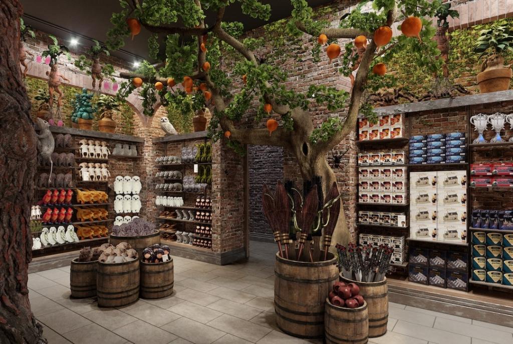 Intérieur du magasin Harry Potter avec des produits dérivés à New York