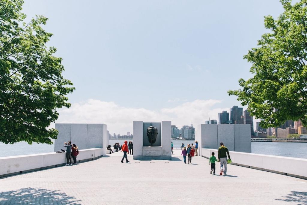 Mémorial pour Roosevelt au Four Freedoms Park sur Roosevelt Island à New York