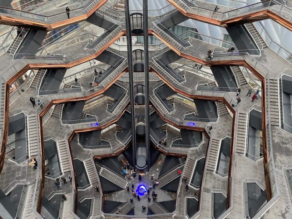 Escaliers de The Vessel vus d'en haut à New York