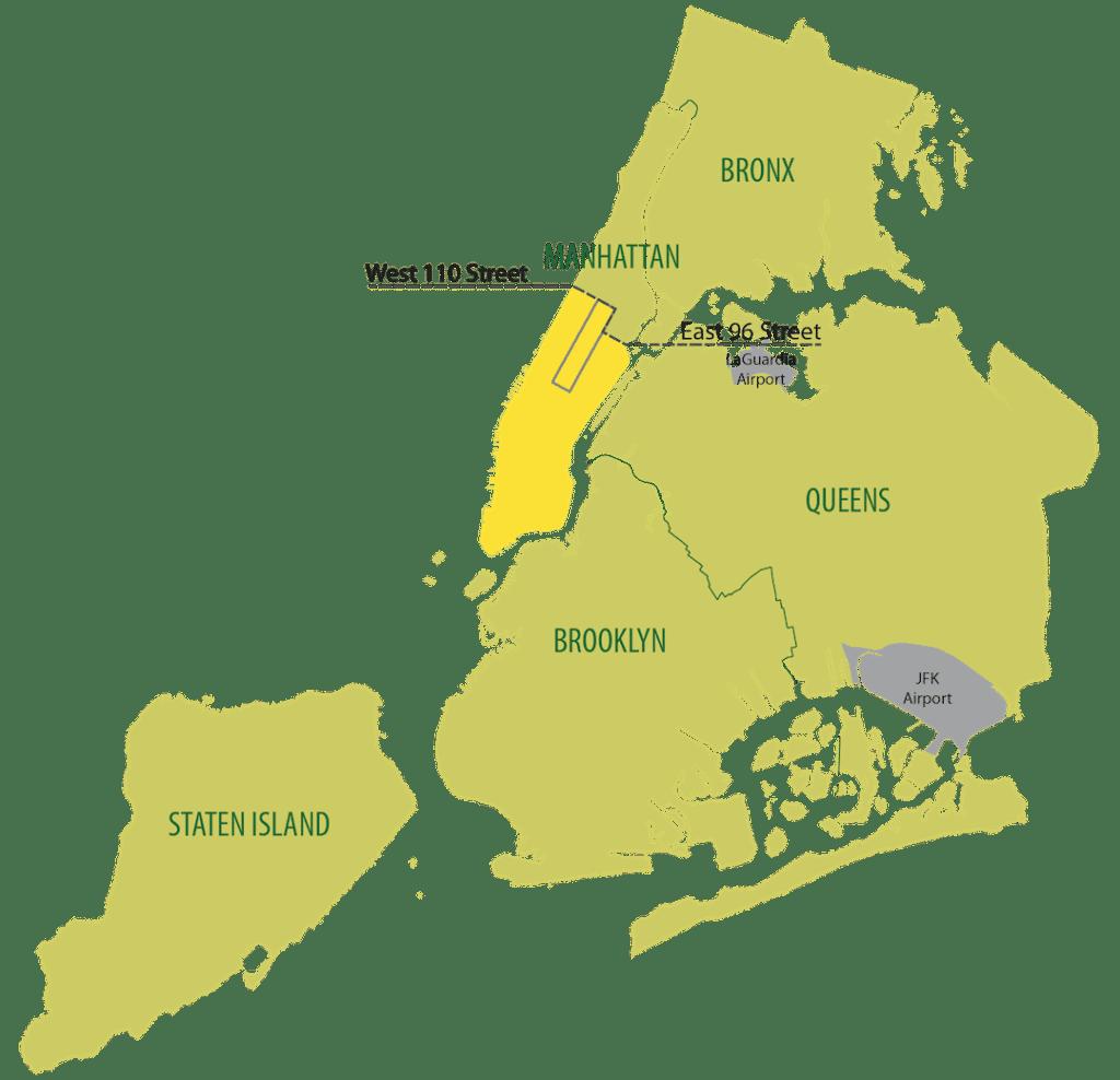 Carte de zones des taxis verts à New York